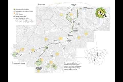 Peckham Coal Line - map showing how it could fit into a wider plan for green routes in London
